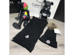 Moncler Winter Hat Knitted Pompon and Scarf Black