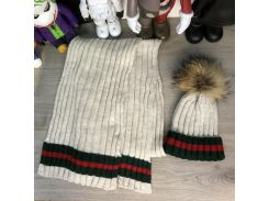 Gucci Winter Hat Knitted Pompon and Scarf Web Sandy