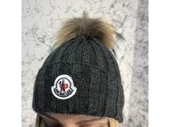 Moncler Winter Hat Knitted Pompon Dark Gray