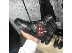 Gucci High Top Snake Embroidered Sneaker Black