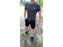 Летний спортивный комплект(шорты и футболка) UA Black/Gray