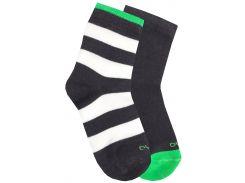 Набор из 2-х пар носков в полосочку и с цветной пяткой, Duna, серый, 22-24 (35-38)