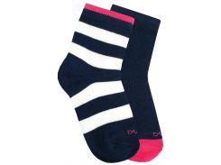 Набор из 2-х пар носков в полосочку и с цветной пяткой, Duna, синий, 22-24 (35-38)