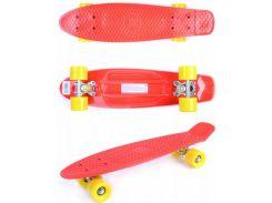 Скейт Пенни борд, 56 см, красный с желтыми колесами, GO Travel