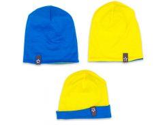 Шапка для мальчика, двухсторонняя, Danaya, сине-желтая (48-50)