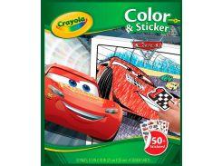 Книга-раскраска с наклейками Тачки-3, Crayola