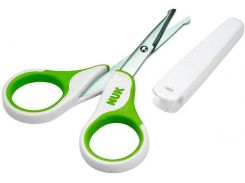Ножницы безопасные с колпачком зеленые, NUK