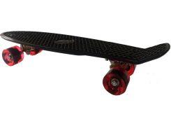 Скейт Пенни борд, 56 см, чёрный с красными колёсами, Go Travel