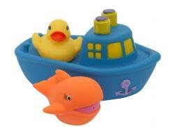 Набор игрушек для ванной Корабль друзей (синий цвет), Baby team