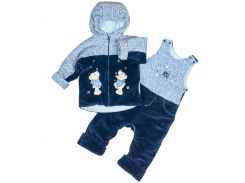 Теплый велюровый комплект на синтепоне для мальчика 74 размер. 2в1 куртка и полукомбинезон