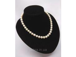 Жемчужное ожерелье из речного жемчуга белого цвета с посеребряной застежкой, длина ожерелья -  46,5см.