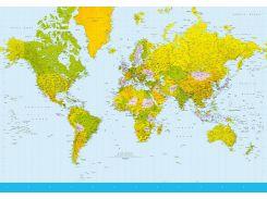 Фотообои 152 Карта мира 366*254 (8ч)