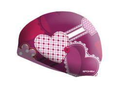 Шапочка для плавания Spokey Stylo с сердцами для детей Onesize Розовая (s0112)