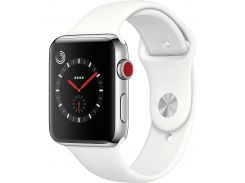 Apple Watch Series 3 GPS + Cellular 38mm Stainless Steel with Soft White Sport Band (MQJV2)