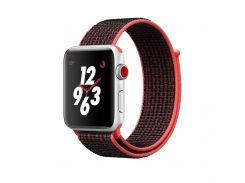 Ремешок New Generation для Apple Watch Series 4 Sport Loop 42 mm Bright Crimson Red-Black (100846)
