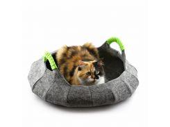 Корзина-лежак для животных Digitalwool Деко с подушкой 55 х 55 х 12 см Серый (DW-91-16)