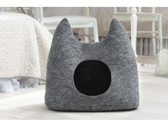 Домик для животных без подушки Digitalwool Ушастик 54 х 58 х 25 см Серый (DW-92-09)