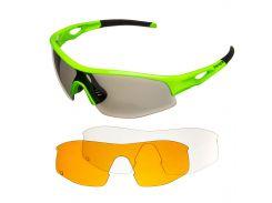 Окуляри велосипедні Green Cycle GGL-422 3 Lenses Green