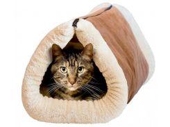 Коврик туннель Kitty Shock для кошек 2 In 1 Tunnel Bed Mat Коричневый с белым (36-130757)