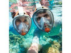 Маска для снорклинга, подводного плавания ныряния 1639 Синий, L/XL