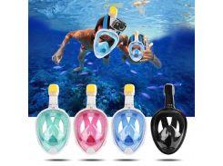 Маска для снорклинга, подводного плавания ныряния S/M, Черный