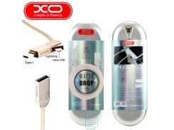 USB кабель XO NB11 3in1 lightning, micro USB, Type-C 1m золотистый
