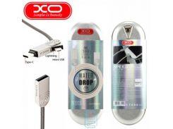 USB кабель XO NB11 3in1 lightning, micro USB, Type-C 1m серебристый