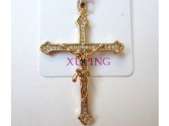 Крест  с распятием на цепочку с камнями большой