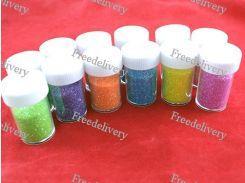 Глиттер декоративные блестки, неоновый 12x12г 6 цветов, для ногтей