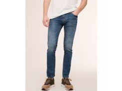 Узкие джинсы Pull and Bear 9684/590/401 с эффектом потёртости, Синий