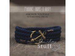 Веревочный браслет с якорем Anchor Stuff Marine Rope Navy, Синий