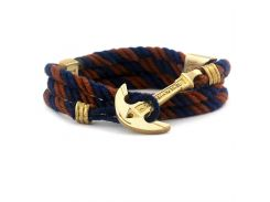 Веревочный браслет с якорем Anchor Stuff Maritime New Atlantic Line Navy Brown, Разные цвета
