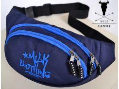 Сумка на пояс Milk Clothing синего цвета с нашивкой логотипом, Синий