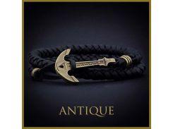 Черный кожаный браслет с якорем Antique, Черный