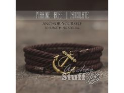 Веревочный браслет с якорем Anchor Stuff Marine Rope Brown, Коричневый