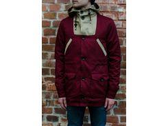 Парка куртка Outfits LKM на пуговицах бордово-бежевого цвета, Бордовый