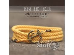 Веревочный браслет с якорем Anchor Stuff Marine Rope Yellow, Золотистый