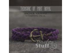 Замшевый браслет с якорем Anchor Stuff Treasure Of Port Royal Purple, фиолетовый