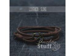 Замшевый браслет с якорем Anchor Stuff Leather Sling Brown, Коричневый