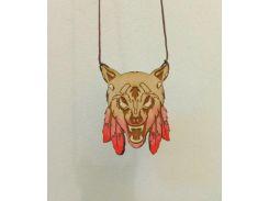 Деревянный кулон волк Loom (ручная работа), Разные цвета