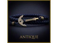 Синий кожаный браслет с якорем Antique, Синий
