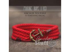 Веревочный браслет с якорем Anchor Stuff Marine Rope Red, Красный