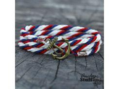 Браслет с якорем Anchor Stuff Atlantic Line White/Navy/Red, Разные цвета