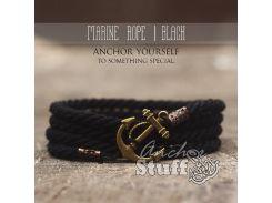 Веревочный браслет с якорем Anchor Stuff Marine Rope Black, Черный