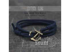 Замшевый браслет с якорем Anchor Stuff Leather Sling Navy, Синий