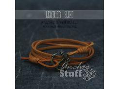 Замшевый браслет с якорем Anchor Stuff Leather Sling Orange, Золотистый