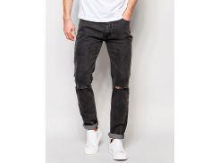 Облегающие джинсы D-Struct Runes с порезами на коленах, Темно-серый