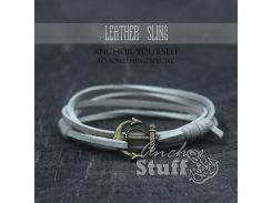 Замшевый браслет с якорем Anchor Stuff Leather Sling White, Белый
