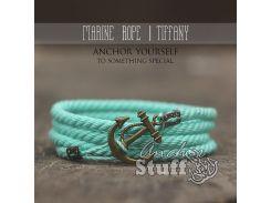 Веревочный браслет с якорем Anchor Stuff Marine Rope Aqua, Голубой