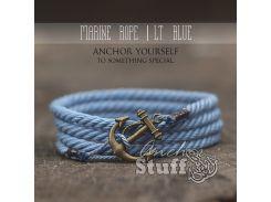 Веревочный браслет с якорем Anchor Stuff Marine Rope Blue Ocean, Голубой